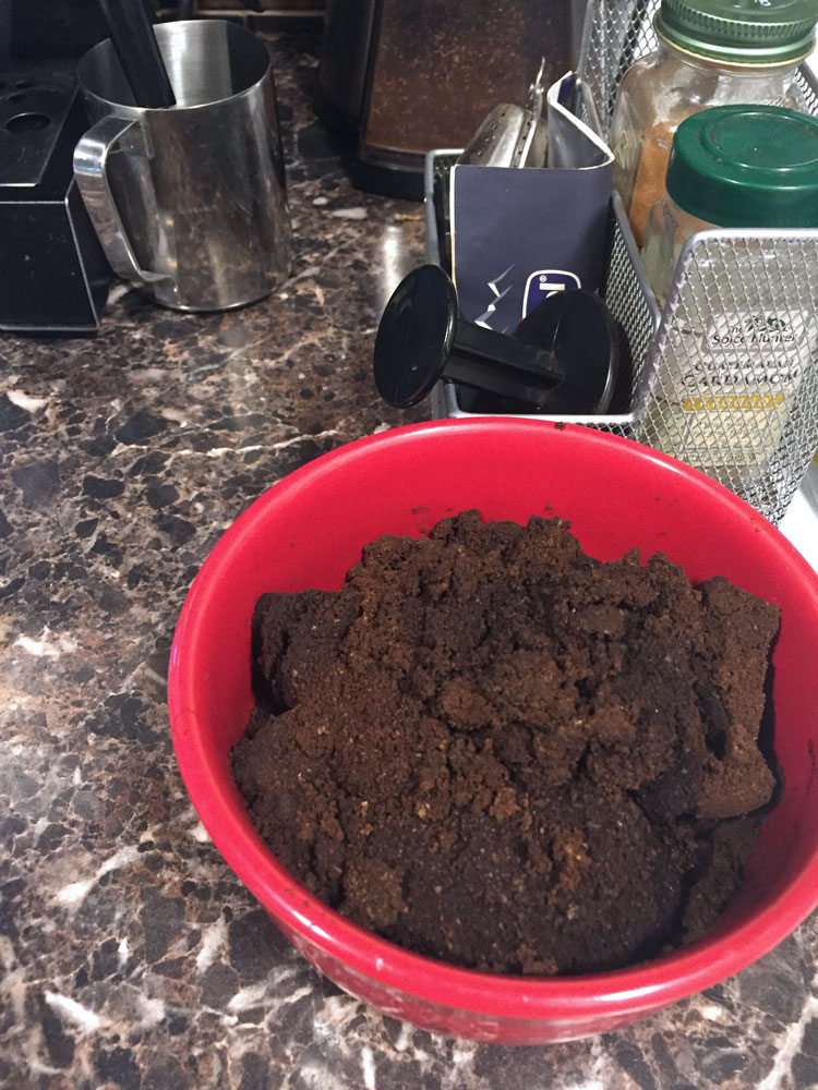 collect your coffee grinds for composting