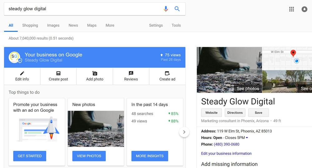 Steady Glow Digital business listing edit window